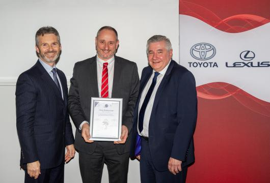 Pictured: Paul Van Der Burgh - President and Managing Director of Toyota GB, Vince Riseborough - SLM Toyota Uckfield Aftersales Manager, Professor of Retail Management at Loughborough University School of Business and Economics